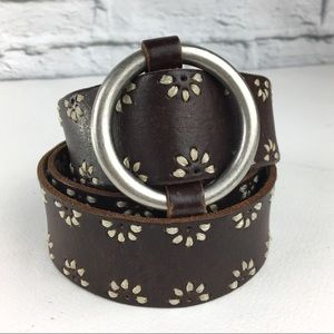 Aeropostale womens brown leather belt L stitched